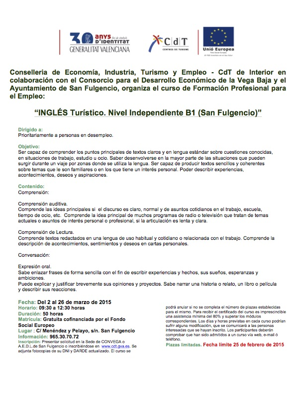 Ingles Turistico Nivel Independiente B1 San Fulgencio_2015