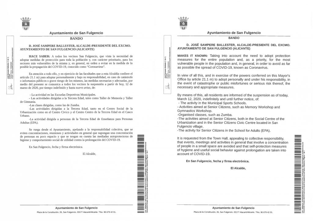 Measures Adopted by the City Council due to the Coronavirus