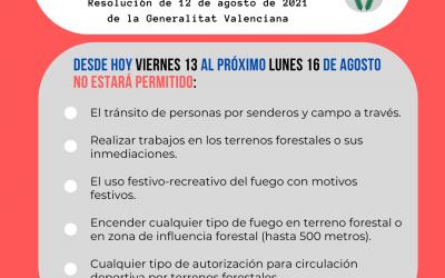 Resolución de la Generalitat Valenciana de restricciones, suspensión de actividades y recomendaciones, en relación con el riesgo de incendios forestales derivados de la actual ola de calor