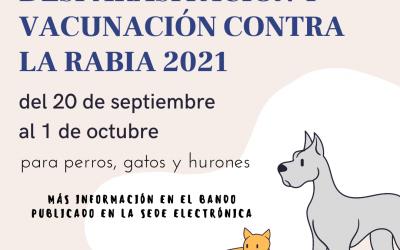 Información sobre campaña de desparasitación y vacunación contra la rabia