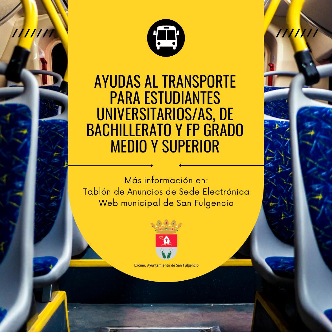 Ayudas para el transporte para estudiantes universitarios/as, Bachillerato y FP de Grado Medio y Superior, curso 2019-2020